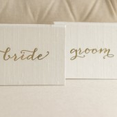 Bride and Groom Wedding Vow Keepsake Set - Silk Folio Wedding Vow Set - Gold Foil Vow Keepsake