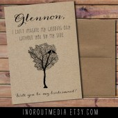 Rustic Tree Will You Be My Bridesmaid card