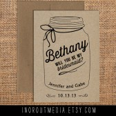 Mason Jar Will You Be My Bridesmaid card