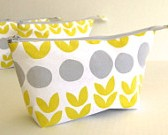 yellow and gray cosmetic bag