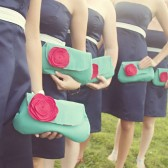 Bridesmaid Clutch Set in Aqua and Red, Custom Options Available