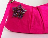Bright Pink Silk Clutch