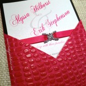 Pink Crocodile Wedding Invitation