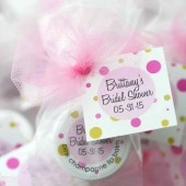 bridal shower favors, lip balm, lip gloss, polka dot
