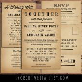 Broadside Typography Wedding Invitation Suite