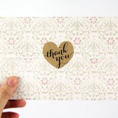 Brown Kraft Heart Thank You Stickers