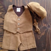 Brown Herringbone Ring Bearer Suit