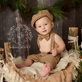 Henry Newsboy Set in Brown and Tan Houndstooth
