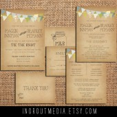 Bunting & Mason Jars Invitation Suite