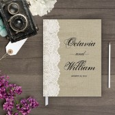 Guestbook - Burlap & Lace Guest book (gb0028)