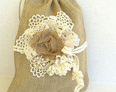 Burlap wedding purse, flower girl purse, dollar dance purse, rustic outdoor wedding decor