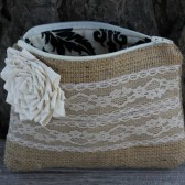 Burlap and Lace Clutch