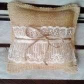 "8"" x 8"" Natural Burlap Ring Bearer Pillow w/ Lace & Jute Twine"