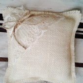 "8"" x 8"" Off White Burlap Ring Bearer Pillow w/ Lace & Jute Twine"