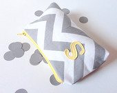 buttercup yellow and grey chevron cosmetic bag