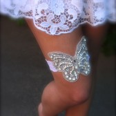 Butterfly Garter, Lace Crystal Beaded Garter, wedding garter, bridal garter, butterfly, lace garter