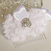 White Bridal Hair Flower Handmade by FancieStrands