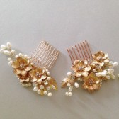 Gold flowers and pearl Bridal hair comb headpiece Pair of hair combs Handmade wedding