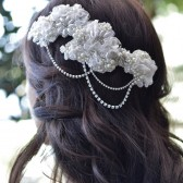 Hand Beaded Venice Lace Headpiece