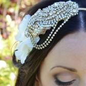 Hand Beaded Gold Bridal Headband