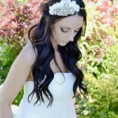 Hand Beaded White Rhinestone Headpiece
