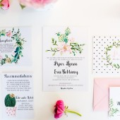 Modern southwestern theme cactus wedding invitations – Piper