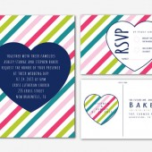 Love Stripes Wedding Invitation and RSVP Postcard