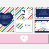 Love Stripes Wedding Invitation Suite