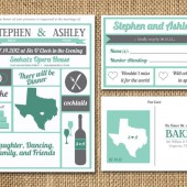 Vintage meets Modern Wedding Invitation and RSVP Postcard