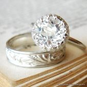 White Topaz Alternative Engagement Ring in Sterling Silver