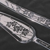 Orchid and Dragonfly Wedding Cake Server Set