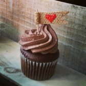 Burlap Heart Flag Cupcake Toppers