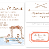 Canoe Outdoors Wedding Invitation Set