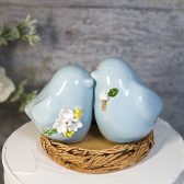 Love Bird Wedding Cake Topper in Celadon Glaze