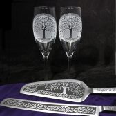 Celtic Tree of Life cake server and champagne flutes