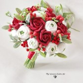 red bridal bouquet, keepsake bouquet, clay flowers bouquet, red roses bouquet