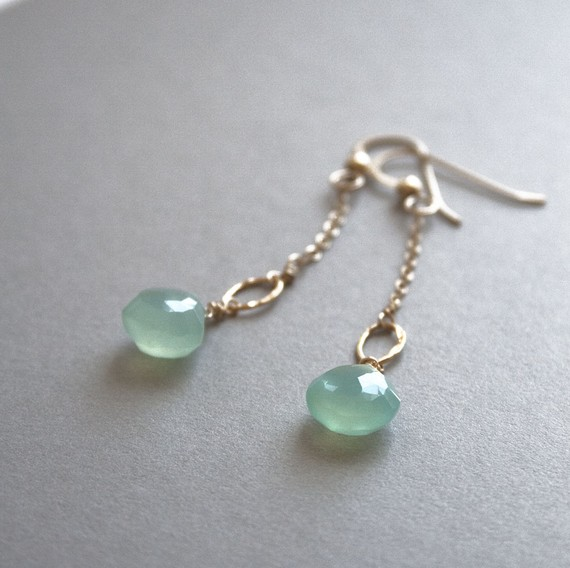 Seafoam Chalcedony Earrings (by Laura Stark via EmmalineBride.com)