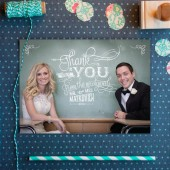 Chalkboard wedding thank you cards custom for any photo. Vintage chalk hand-lettered, & cute enough to frame! DIY or printed.