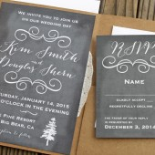 Chalk Board Pine Wedding Invitation