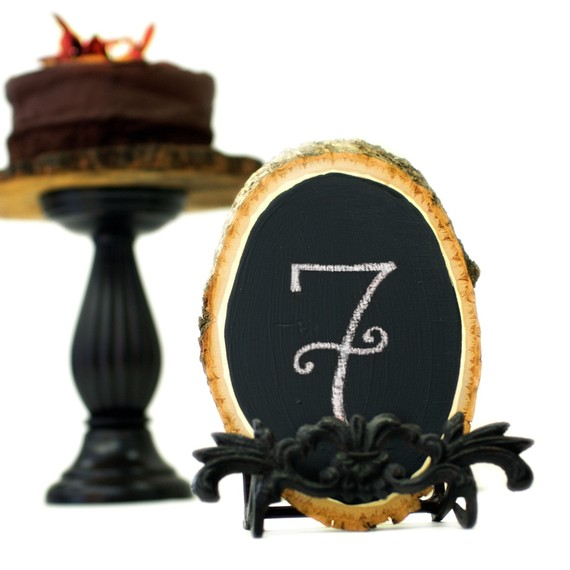 chalkboard table number tree slice