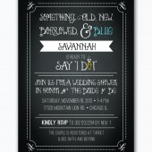 rustic chalkboard wedding shower something borrowed, something blue invitation custom printable-- digital file