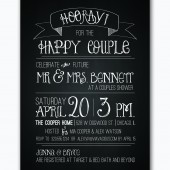 rustic chalkboard couples wedding shower invitation custom printable-- digital file