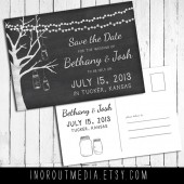 Mason Jars and Strung Lights Save the Date