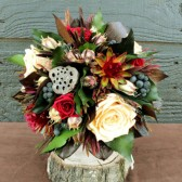 champagne and burgundy rose woodland maid of honor bouquet