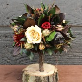 champagne and burgundy rose woodland bouquet