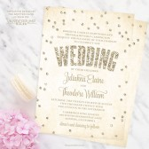 Champagne Confetti Wedding Invitations by The Spotted Olive