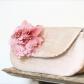 Blush wedding clutch