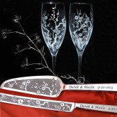 Cherry Blossom cake server and knife champagne flute set