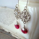 Cherry Red Filigree Earrings Silver and Chalcedony