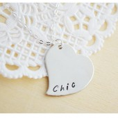 Silver Filled Heart Hand Stamped Necklace